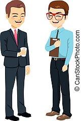 homens negócios, falando, ficar