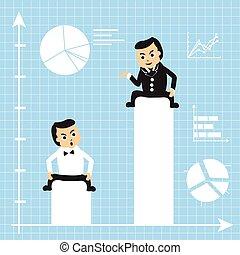 homens negócios, ligado, crescendo, gráficos