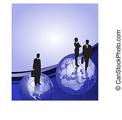 homens negócios, ligado, globo mundial