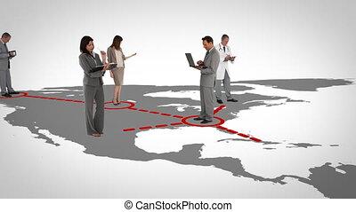 homens negócios, ligado, um, mapa
