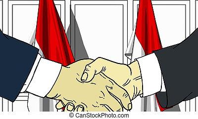 homens negócios, ou, políticos, apertar mão, contra, bandeiras, de, indonesia., reunião, ou, cooperação, relatado, caricatura, ilustração