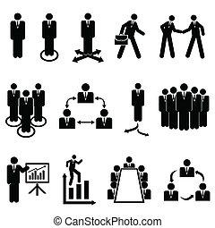 homens negócios, trabalho equipe, equipes