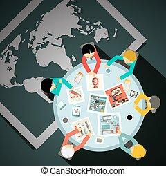 homens negócios, vista fundo, tabela, mundo, topo, mapa
