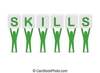 homens, palavra, segurando, habilidades