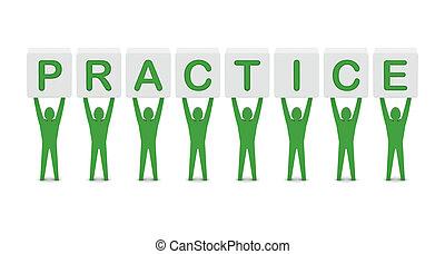 homens, segurando, a, palavra, practice.