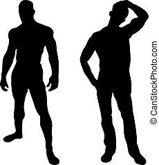homens, silhuetas, 2, fundo, excitado, branca