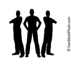homens, silueta, três