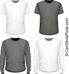 homens, t-shirt, shortinho, e, manga longa