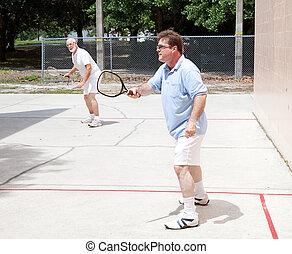 homens, tocando, racquetball