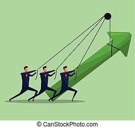homens, trabalho equipe, negócio, seta, crescimento