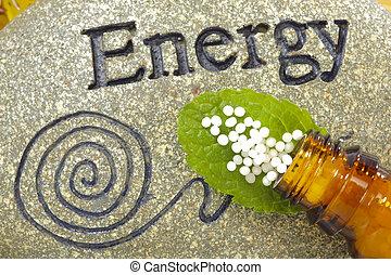 homeopático, globules, pedra, energia