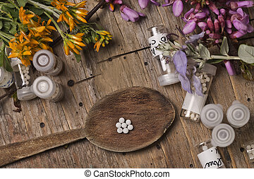 Homeopathic bottles and Pills - bottles with homeopathy...