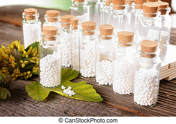 Homeopathic globules - Homeopathic lactose sugar globules in...