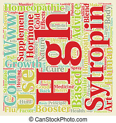 Homeopathic HGH text background wordcloud concept