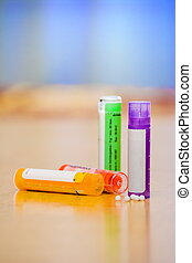 Homeopathic medications - Close view of homeopathic...
