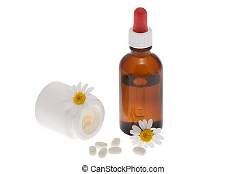 Homeopathic medicine in front of white background