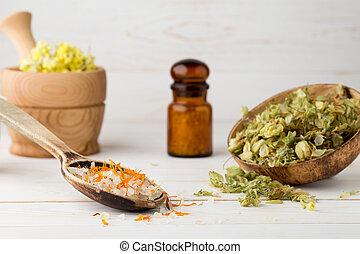 Homeopathic medicine. - Dried medicinal plants, herbal tea...