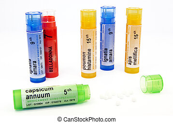 Close-up view of a few tubes of homeopathy.