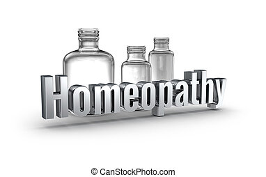 homeopathie, 3d, woord, concept, op, witte