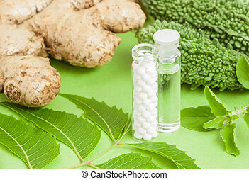 Homeopathy - A homeopathy concept with homeopathic medicine...