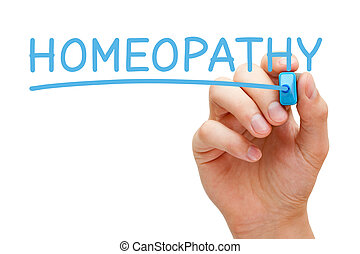 Hand writing Homeopathy with blue marker on transparent wipe board.
