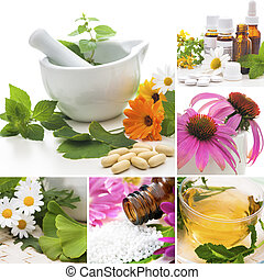 Homeopathy Collage - Various homeopathy related images in a...