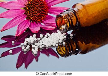 homeopathy., glóbulos, como, medicina alternativa