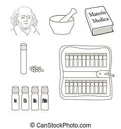 homeopathy., jogo, de, vetorial, icons.