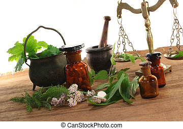 Homeopathy - Pharmacists scale with mortar, old pot,...