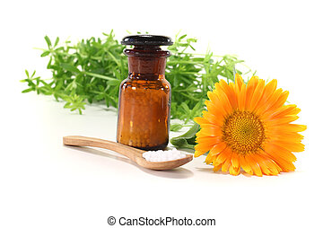 Homeopathy with apothecary jar - Homeopathy globules, an...