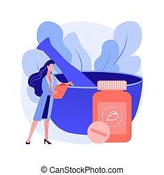 homeopati, begrepp, abstrakt, vektor, illustration.