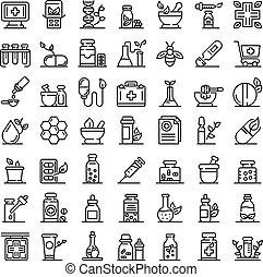 homeopati, ikonen, skissera, sätta, stil