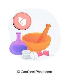 homeopati, illustration., begrepp, abstrakt, vektor