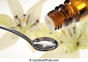 homeopati, med, tappa, vätska