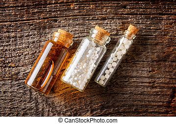 homeopatisk, droppar, och, vätska