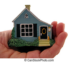 homeowner - hand holding a house with white background