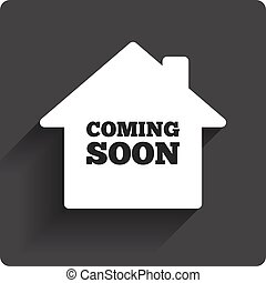 Homepage coming soon sign icon. Promotion announcement symbol. Gray flat square button with shadow. Modern UI website navigation. Vector