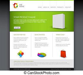 homepage, vektor, šablona, moderní, produkt