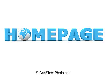 blue word Homepage with 3D globe replacing letter O