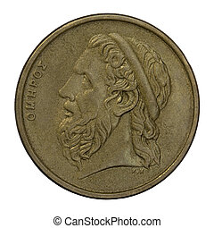 portrait of Homer, legendary ancient Greek epic poet, author of the Iliad and the Odyssey, 50 drachma circulated coin from 1988 (copper with alumnium and nickel)