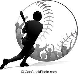 homerun, y, ventiladores, beisball, negro, blanco