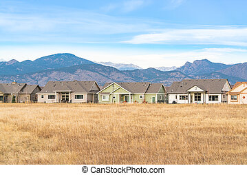 Homes along the front range of the Rocy Mountains in Colorado