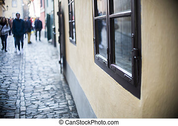 Homes along the golden lane in prague castle, full of...