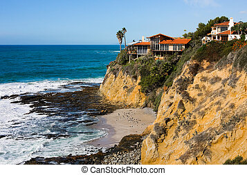 Homes at the cliff in Southern California