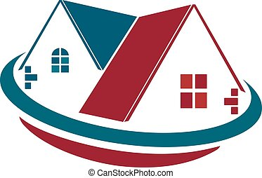 Homes for sale vector logo design  Red roof houses with