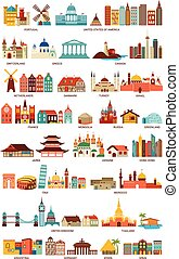 Homes from the world, travel, tourism, geography icons and illustrations