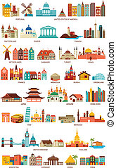 Homes from the world, travel, tourism, geography icons and ...