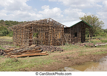 Construction of traditional houses, Great Rift Valley, Ethiopia, Africa