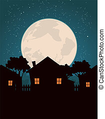 Homes In The Moonlight - Illustration of a cartoon...