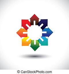 homes., maison, cercle, industrie, rouges, bleu, jaune, concept, vecteur, contient, construction, coloré, graphique, icônes, -, autre, signes, rose, vibrant, orange, vif, ou, couleurs